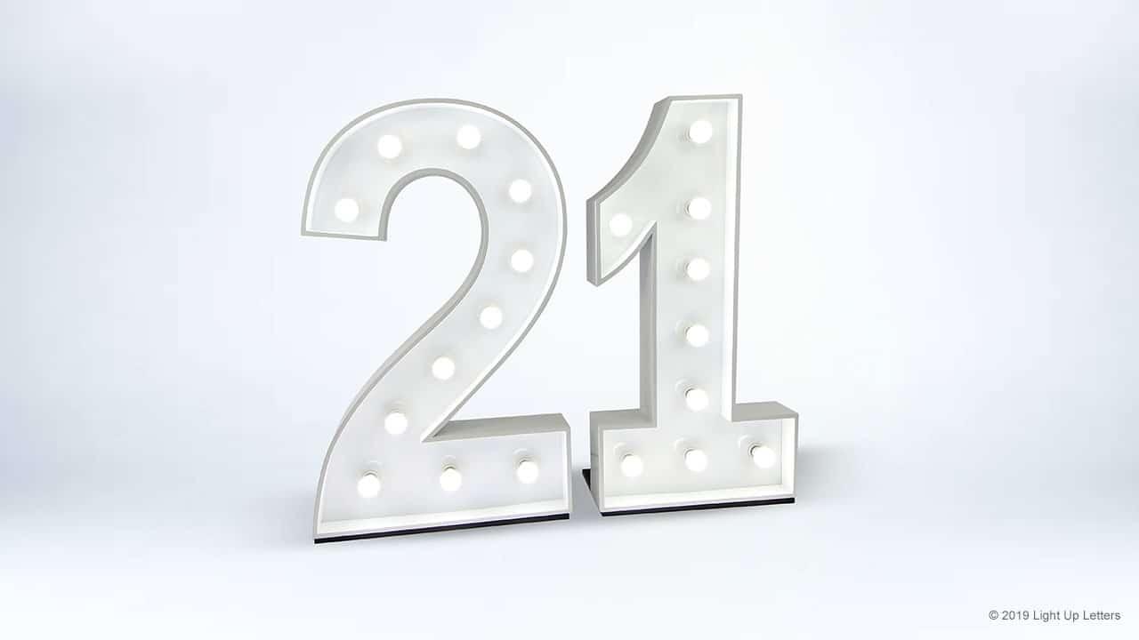 1.2 Metre 21st Light Up Number